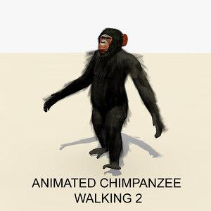 rigged chimpanzee walking animations 3d model