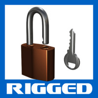 Padlock: Rigged 3D Model with Key