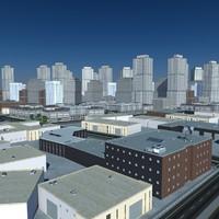 3d obj cityscape scene highrise