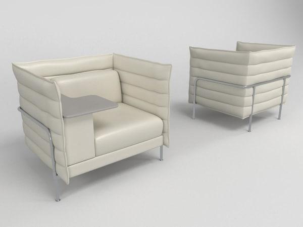 3d leather armchair -