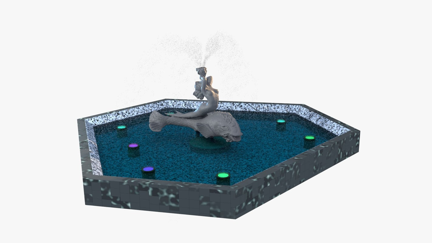 fountain mermaid 3d model