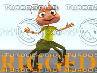 - cartoon ant rigged character 3d model