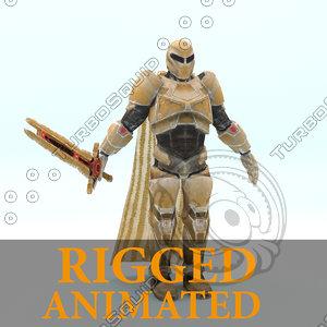 maya - sci-fi knight rigged character