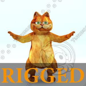 3d - cartoon cat rigged character model