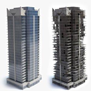 3d model skyscraper building ruins