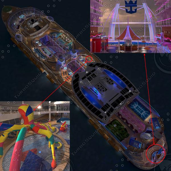 3d cruise ship day night model