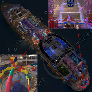 3d cruise ship day night model