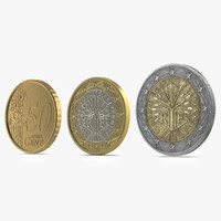 3d french euro coins model