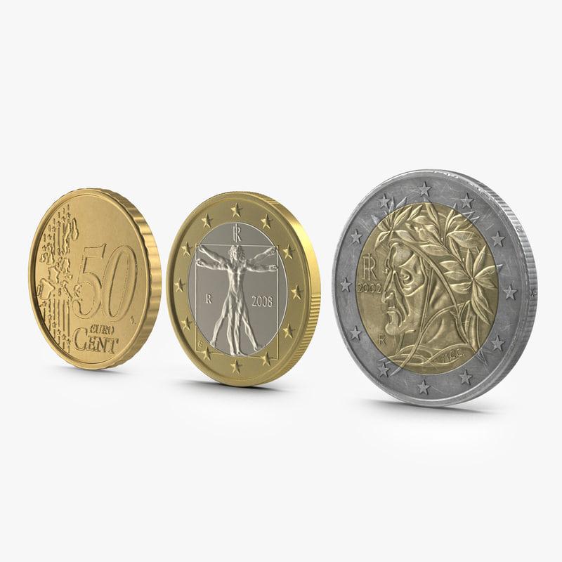 3d italian euro coins modeled