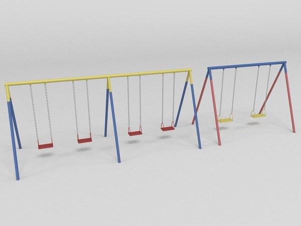 swing external playground 3d obj