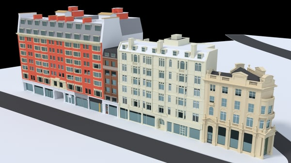 london city block street 3d max