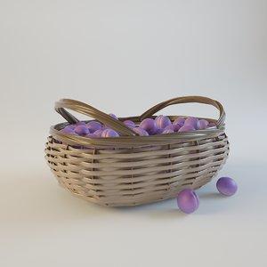 3d model ripe plums weaving basket