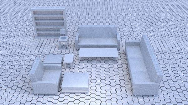 white living room 3d 3ds