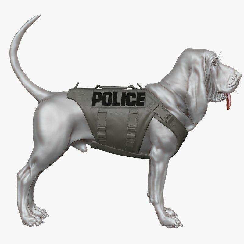 3d model bloodhound dog body armor