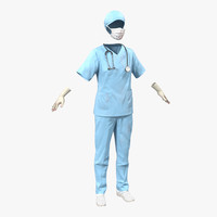 female surgeon dress 10 3d model