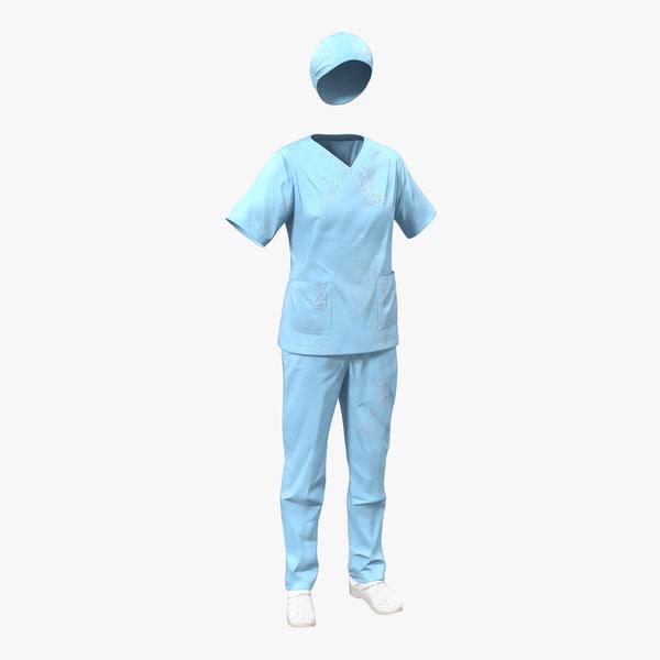 female surgeon dress 11 3d 3ds