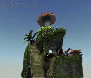 3d mushrooms stage