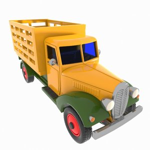 3d cartoon vintage truck model