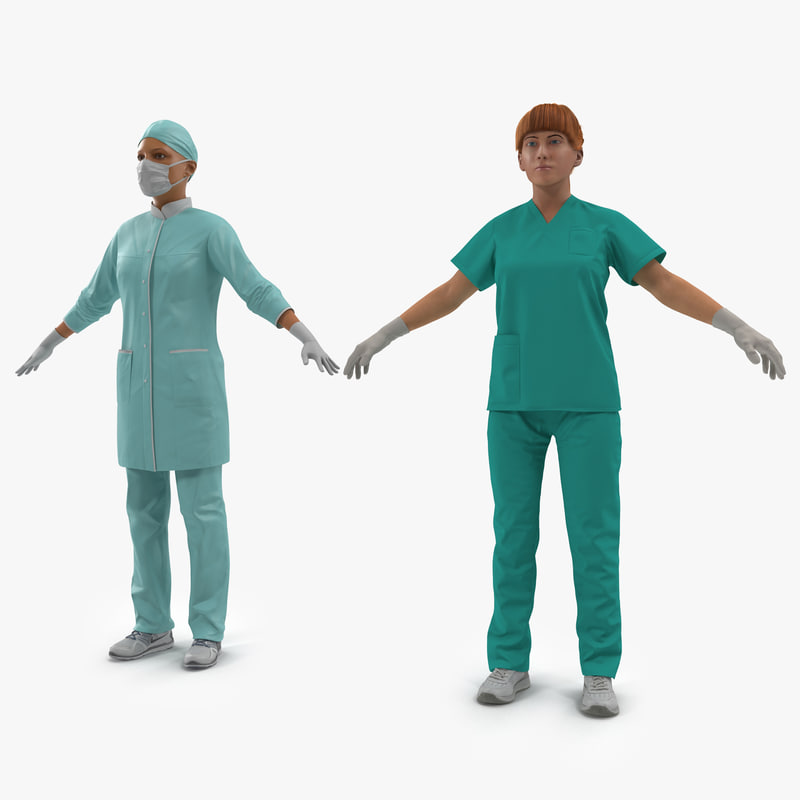female doctors modeled surgeon 3d model