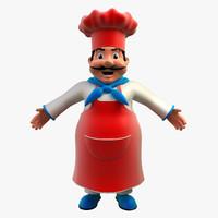 chef cartoon character 3d model