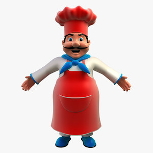 chef cartoon character 3d model