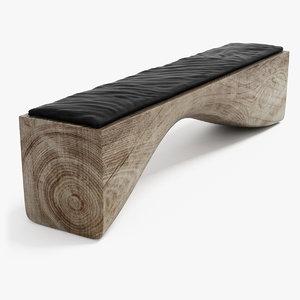 curve bench riva 1920 3d model
