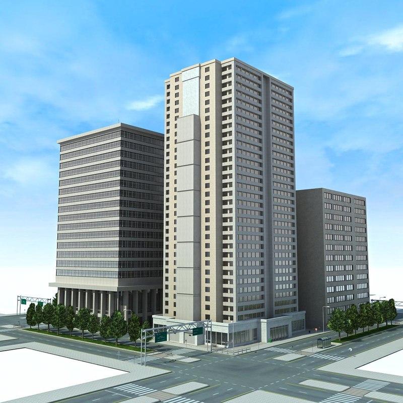 3d city cityscape block
