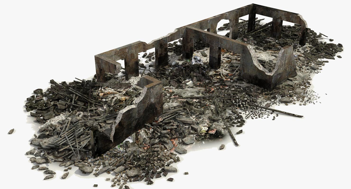 3d model of destroyed ruined building rubble