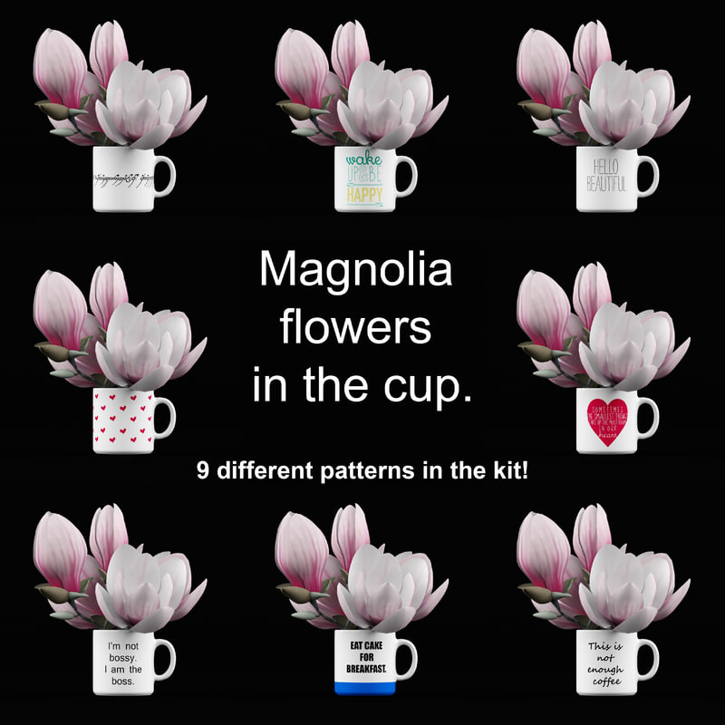 magnolia flowers cup 3d max