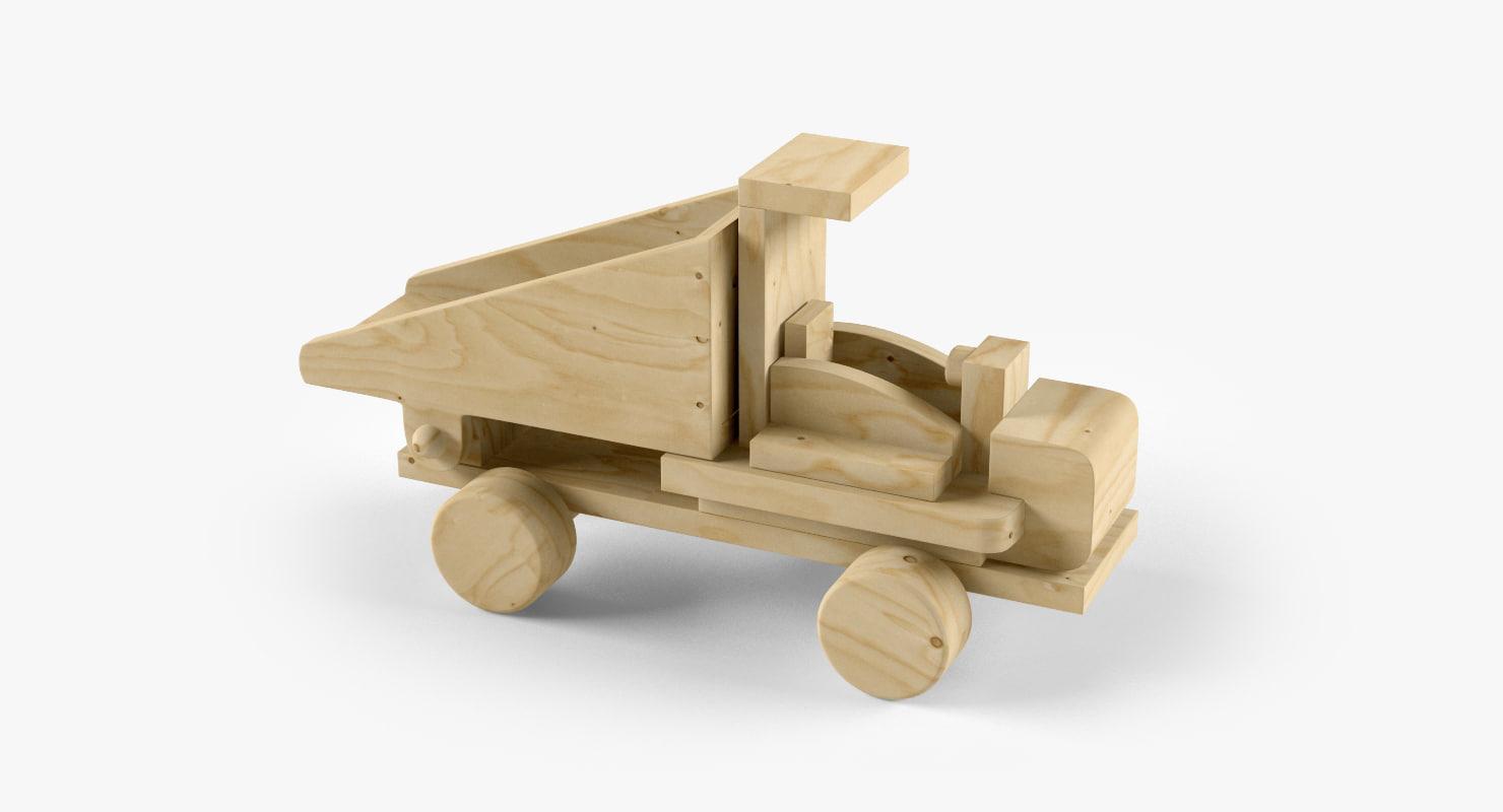 3d model wooden wood car