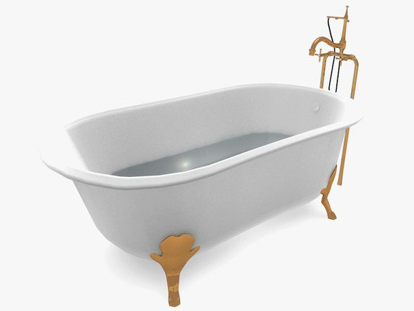 3d model of classic bathtub
