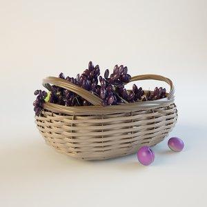 ripe grapes weaving basket 3d model