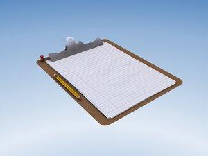 3d model clipboard pencil