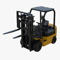 forklift rigged lift 3d model