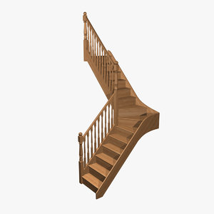 staircase wood pine 3d model