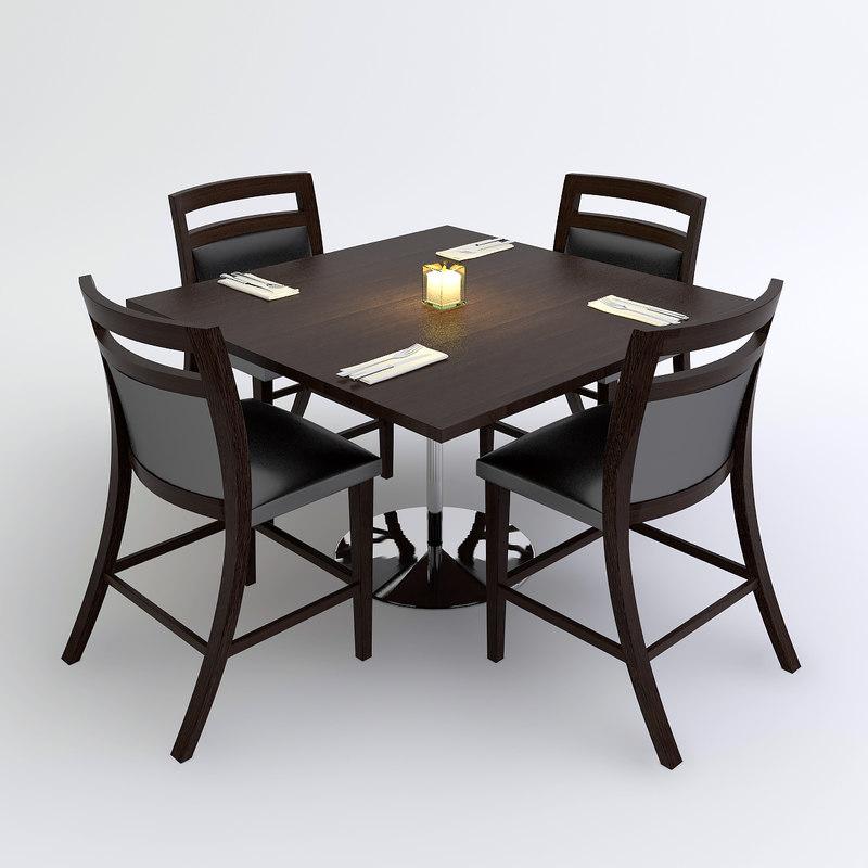 Restaurant Table D Model - 4 top restaurant table