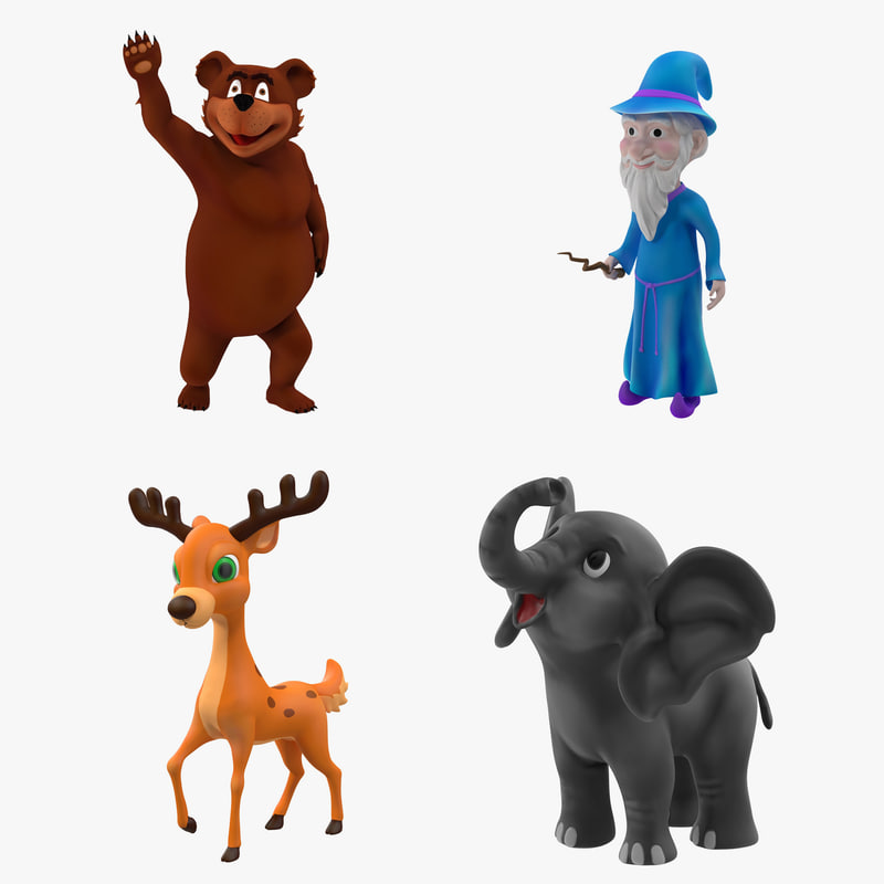 cartoon rigged characters elephant 3d max