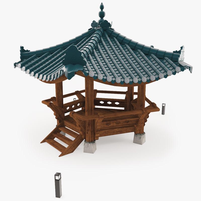 3d 3ds asian garden pavilion