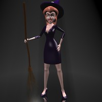 3d cute cartoon witch rigged character model