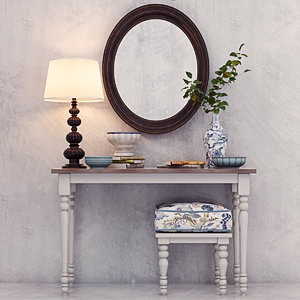 classic vanity dressing table 3d model