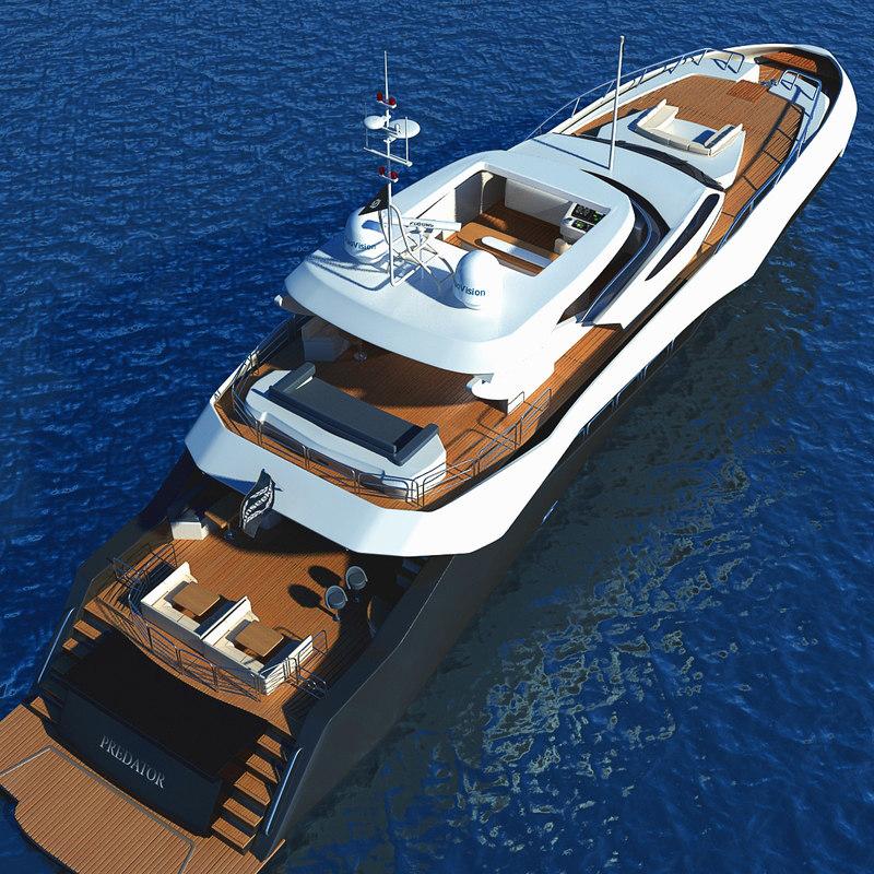obj luxary yacht sunseeker predator
