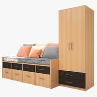 3d model bedroom furniture bed cabinet