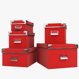 3d model boxes closed red paper