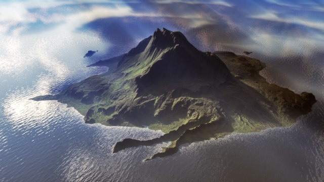 c4d island landscape mountain