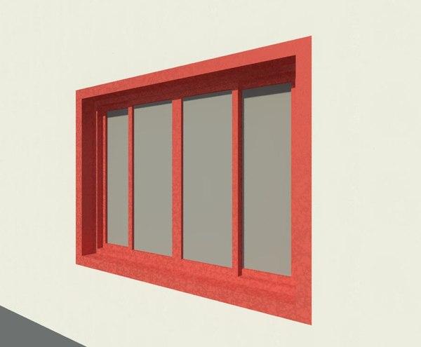 3d double glass sliding window model