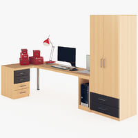 workspace furnishing desktop computer 3d model