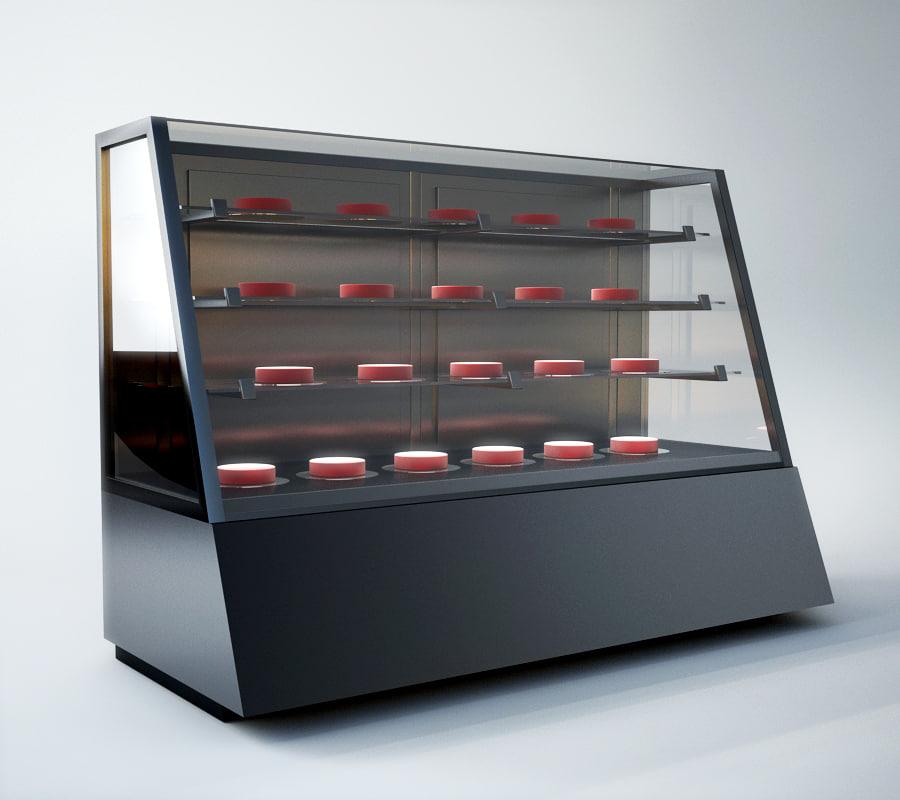 3d model pastry showcase