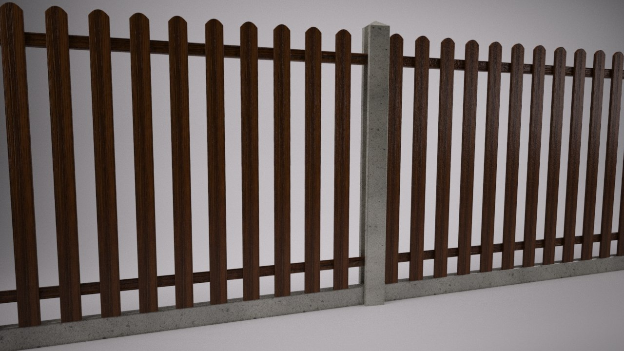 3d model picket fence