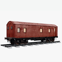3d red train wagon
