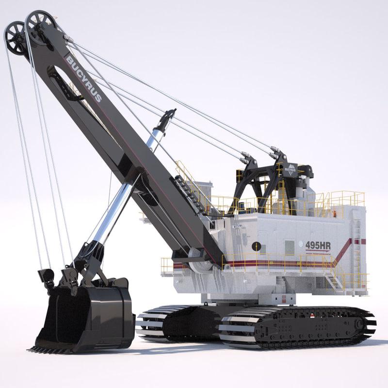 shovel bucyrus 495hr 3d model